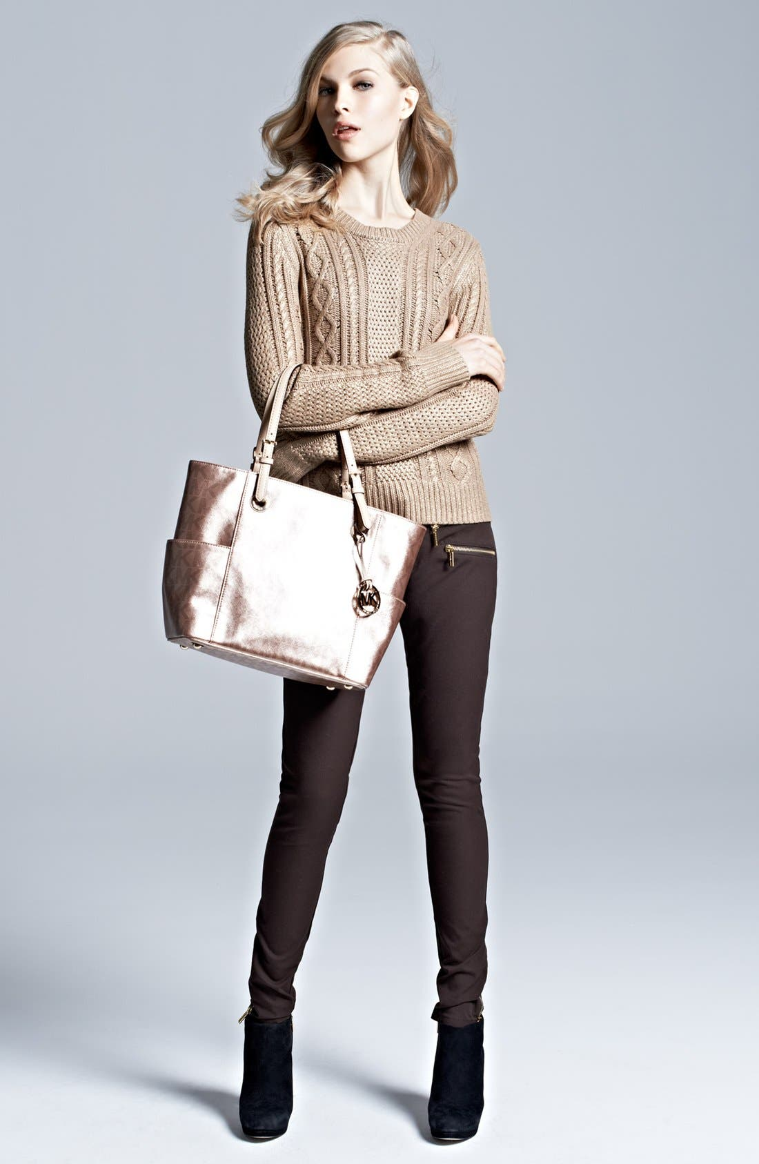 Alternate Image 5  - MICHAEL Michael Kors Foiled Cable Knit Cotton Blend Sweater