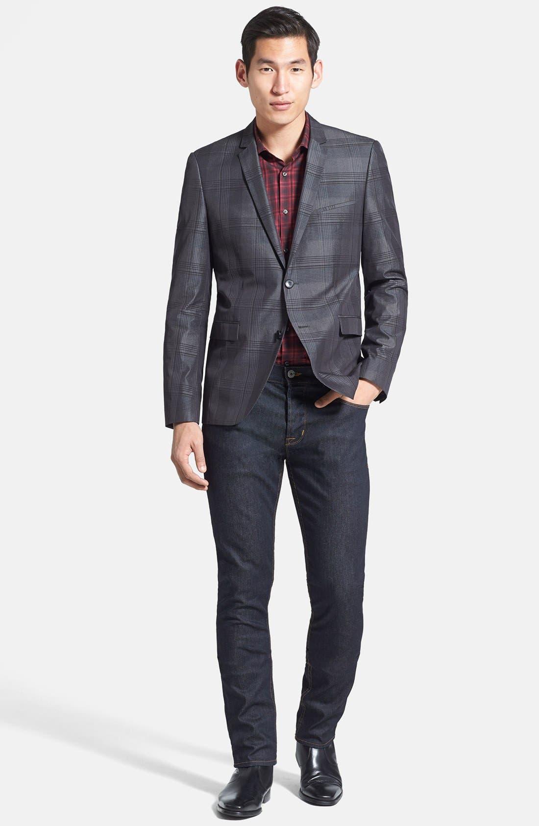 Alternate Image 4  - HUGO 'Adris' Extra Trim Fit Plaid Sportcoat