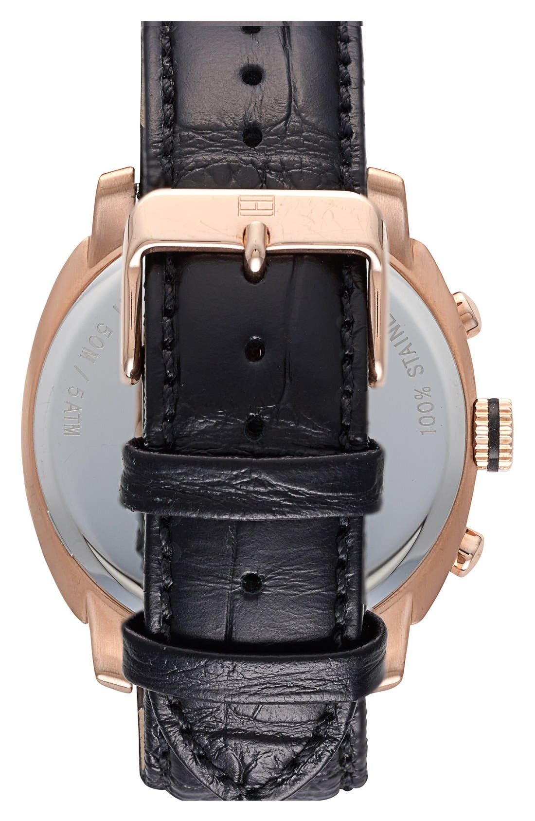 Alternate Image 2  - Tommy Hilfiger Multifunction Leather Strap Watch, 44mm