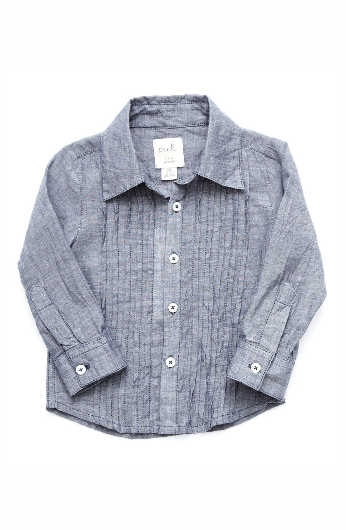 Main Image - Peek 'Arthur' Chambray Sport Shirt (Baby Boys)