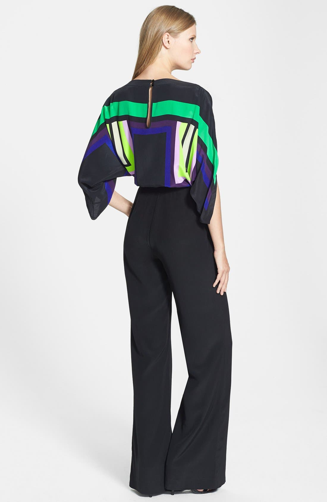 Alternate Image 2  - Diane von Furstenberg 'Lucy' Print Top Silk Jumpsuit