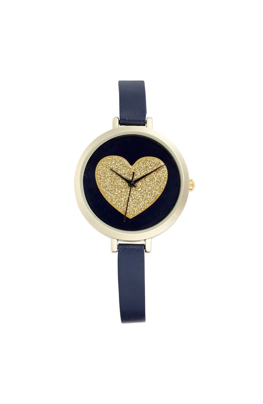 Main Image - Titanium Glitter Heart Double Wrap Watch, 24mm (Juniors)