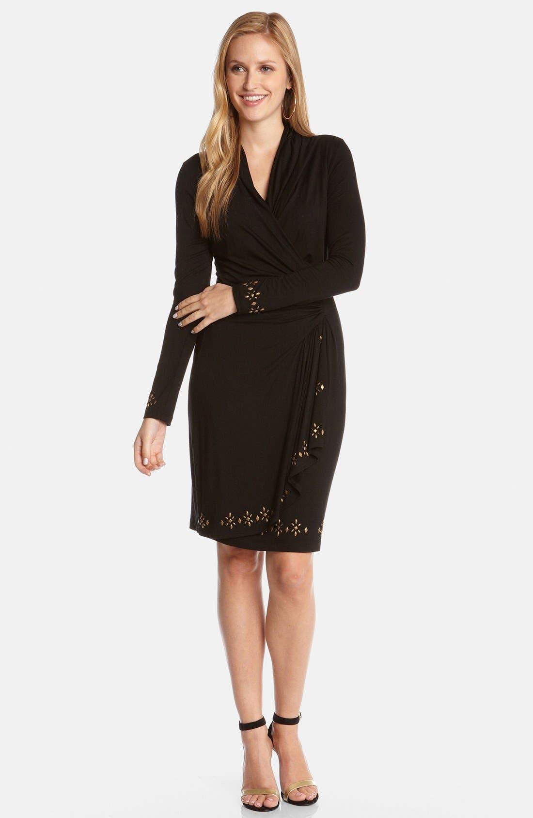 Alternate Image 2  - Karen Kane 'Royal Flush' Cascade Faux Wrap Dress
