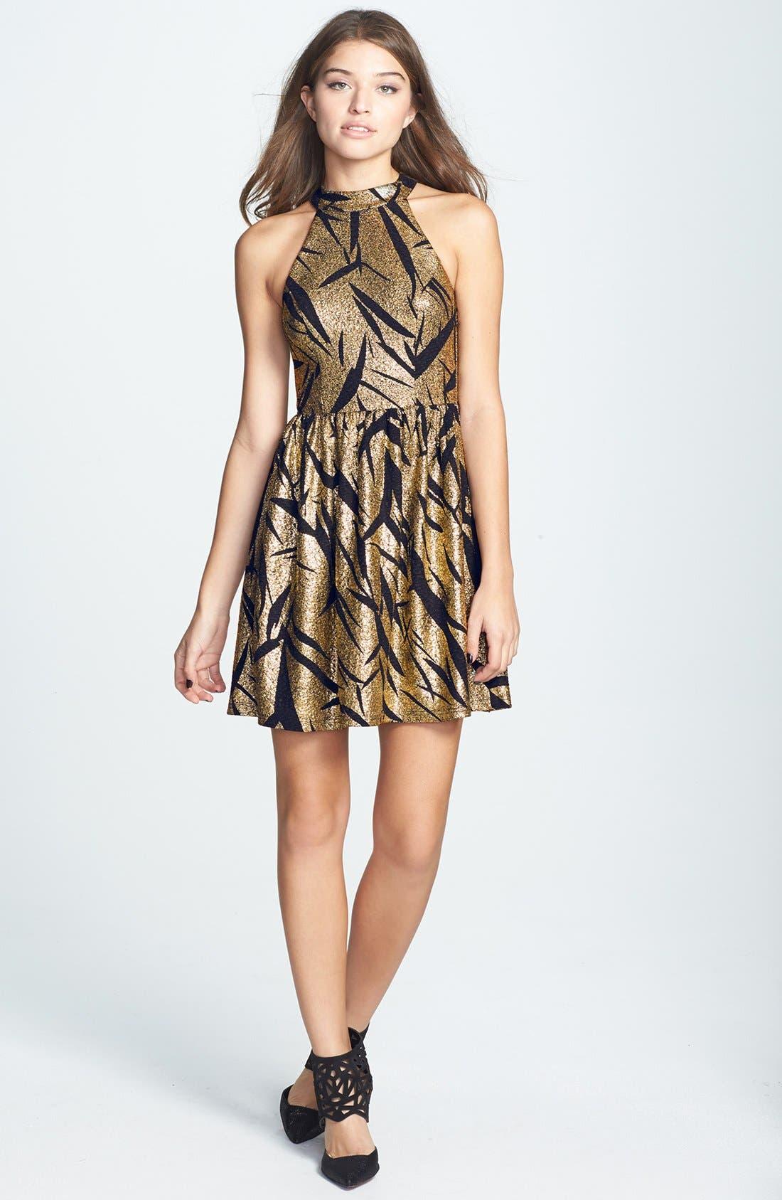 Alternate Image 1 Selected - En Crème Metallic Pattern Cutout Skater Dress (Juniors)