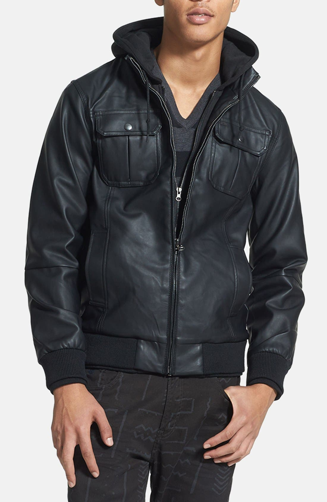 Main Image - Obey 'Rapture' Hooded Faux Leather Bomber Jacket