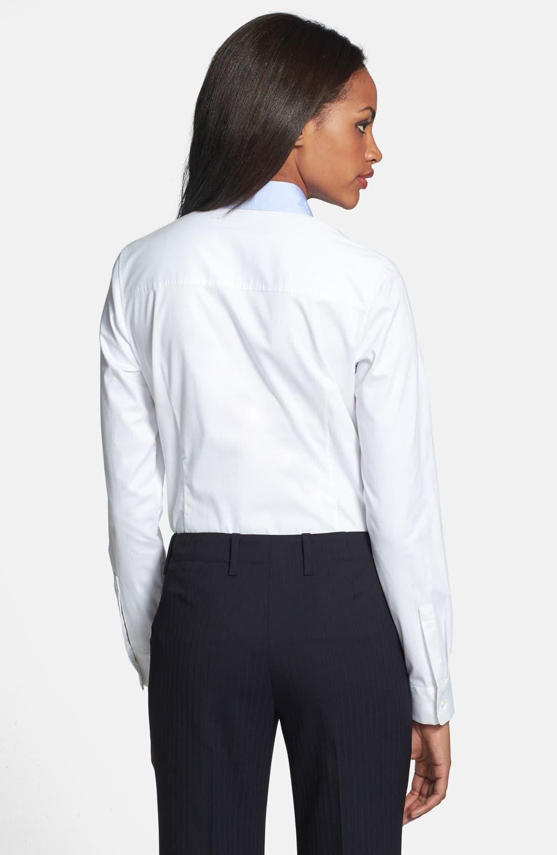 Alternate Image 2  - BOSS HUGO BOSS 'Riccarda' Contrast Trim Long Sleeve Shirt