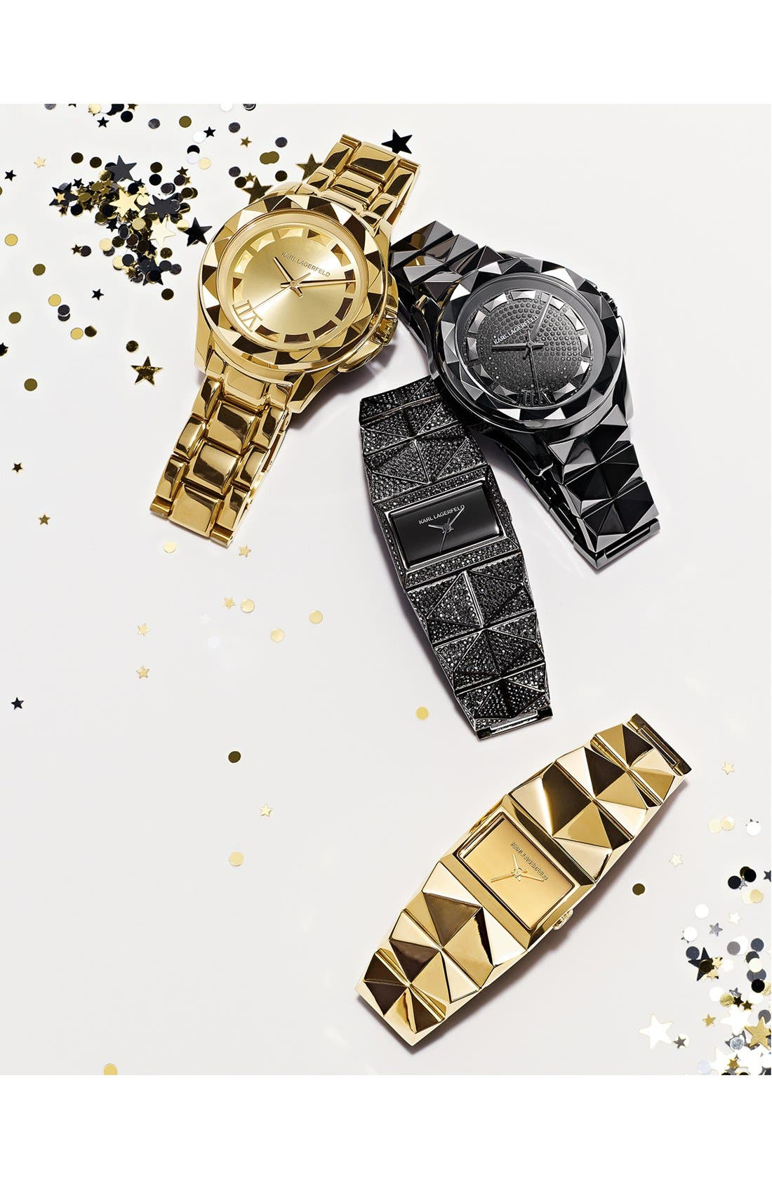 Alternate Image 4  - KARL LAGERFELD '7' Faceted Bezel Ceramic Bracelet Watch, 44mm
