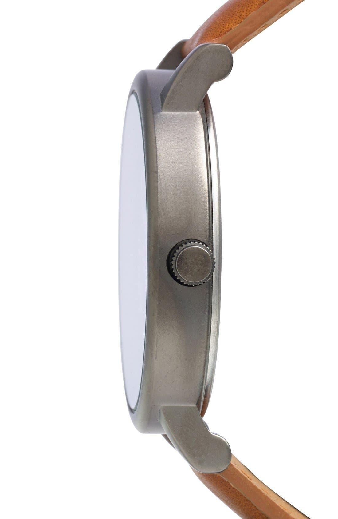 Alternate Image 3  - Timex® Round Leather Strap Watch, 42mm