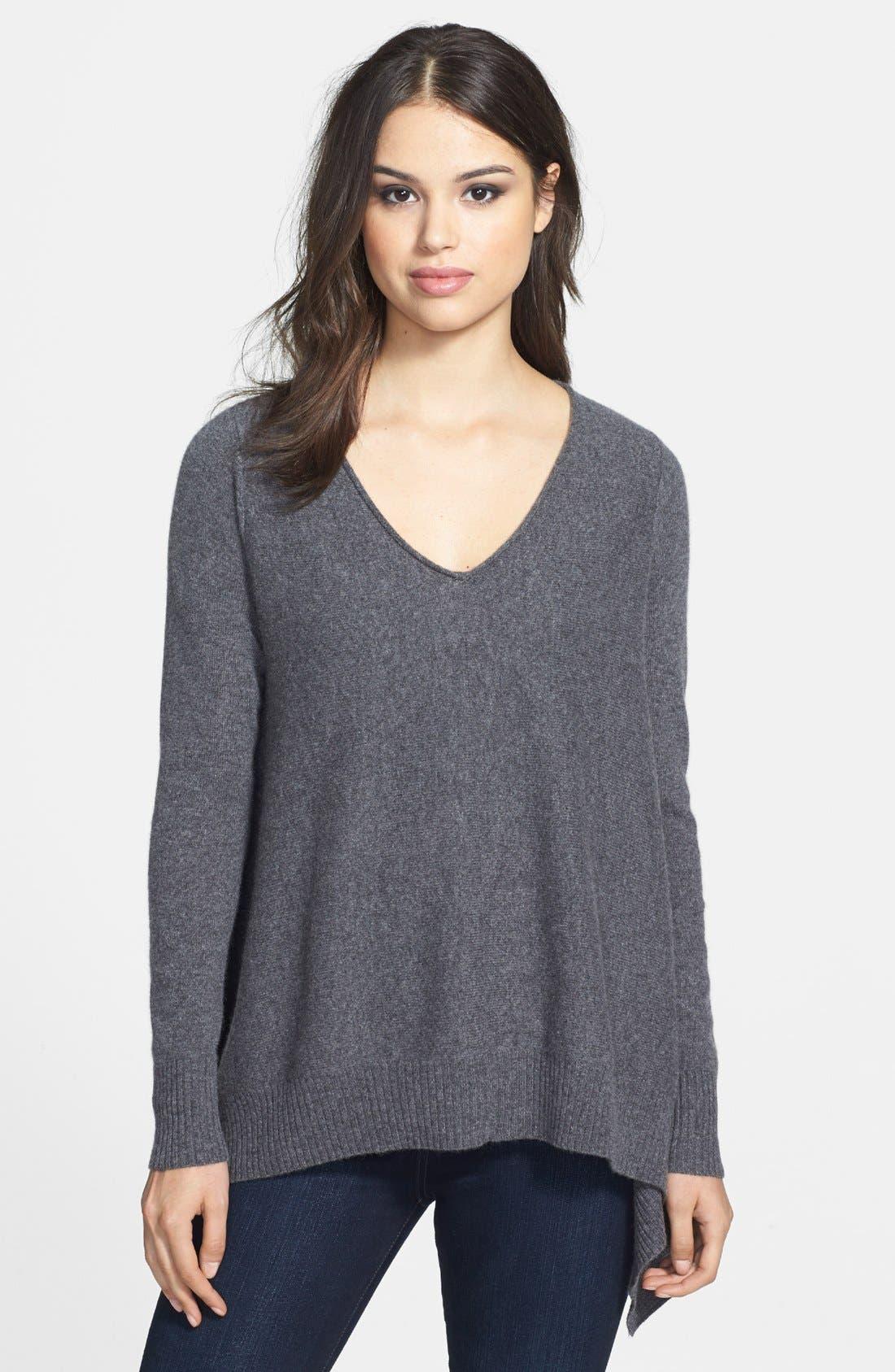 Main Image - Halogen® Shark Bite Hem Wool & Cashmere Sweater