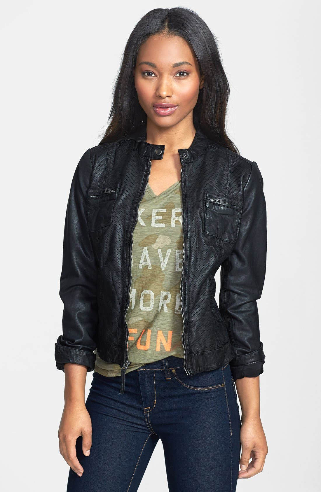 Alternate Image 1 Selected - Lucky Brand 'Carson' Perforated Leather Jacket