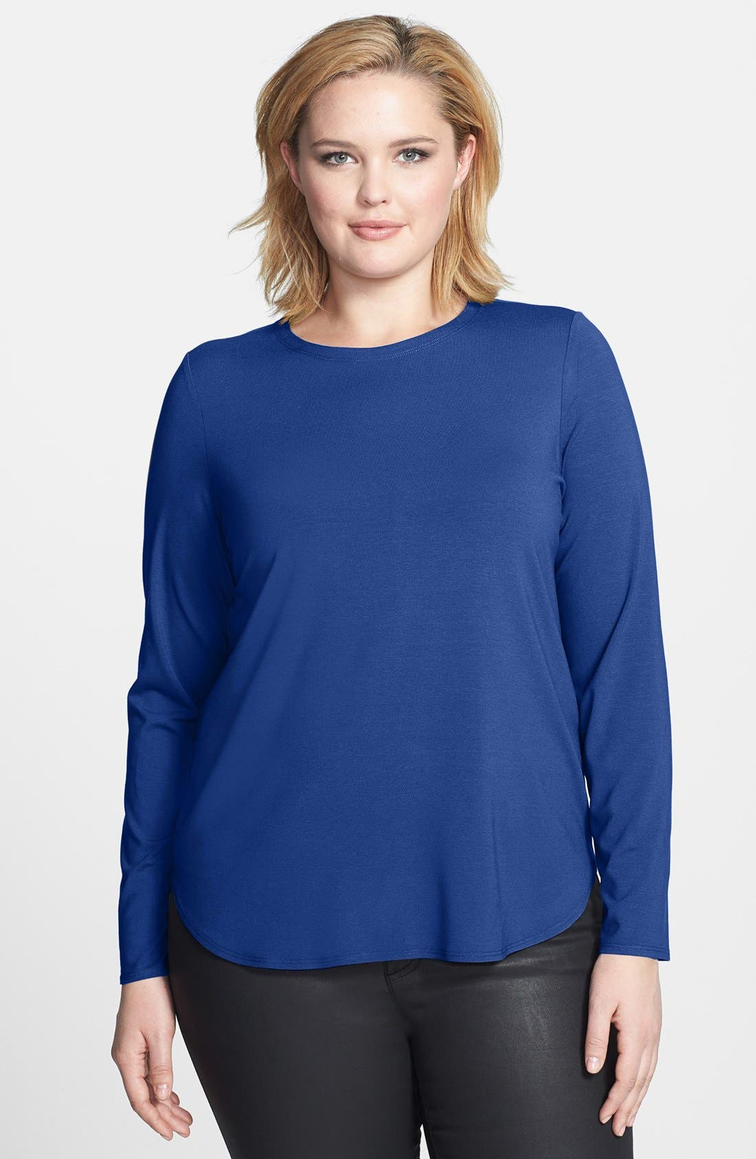 Alternate Image 1 Selected - Eileen Fisher Jersey Top (Plus Size)