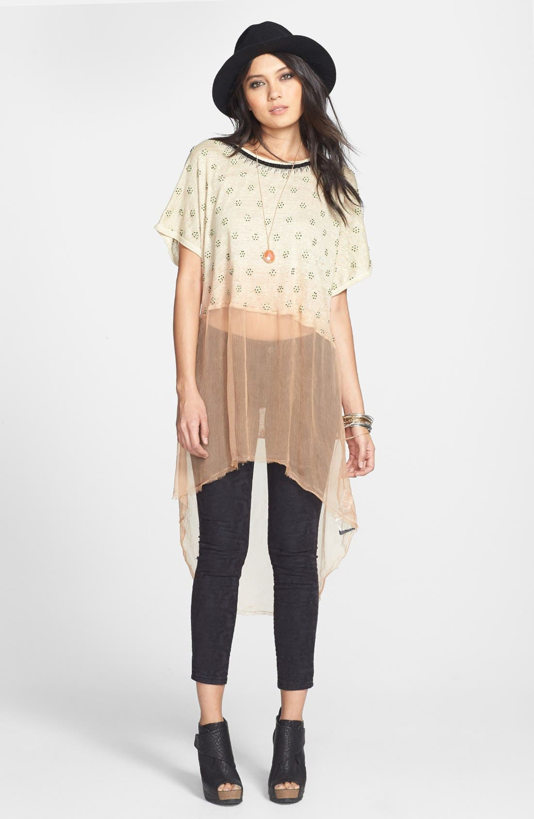 Main Image - Free People 'Diamond' Embellished Dip Dye Linen Tunic