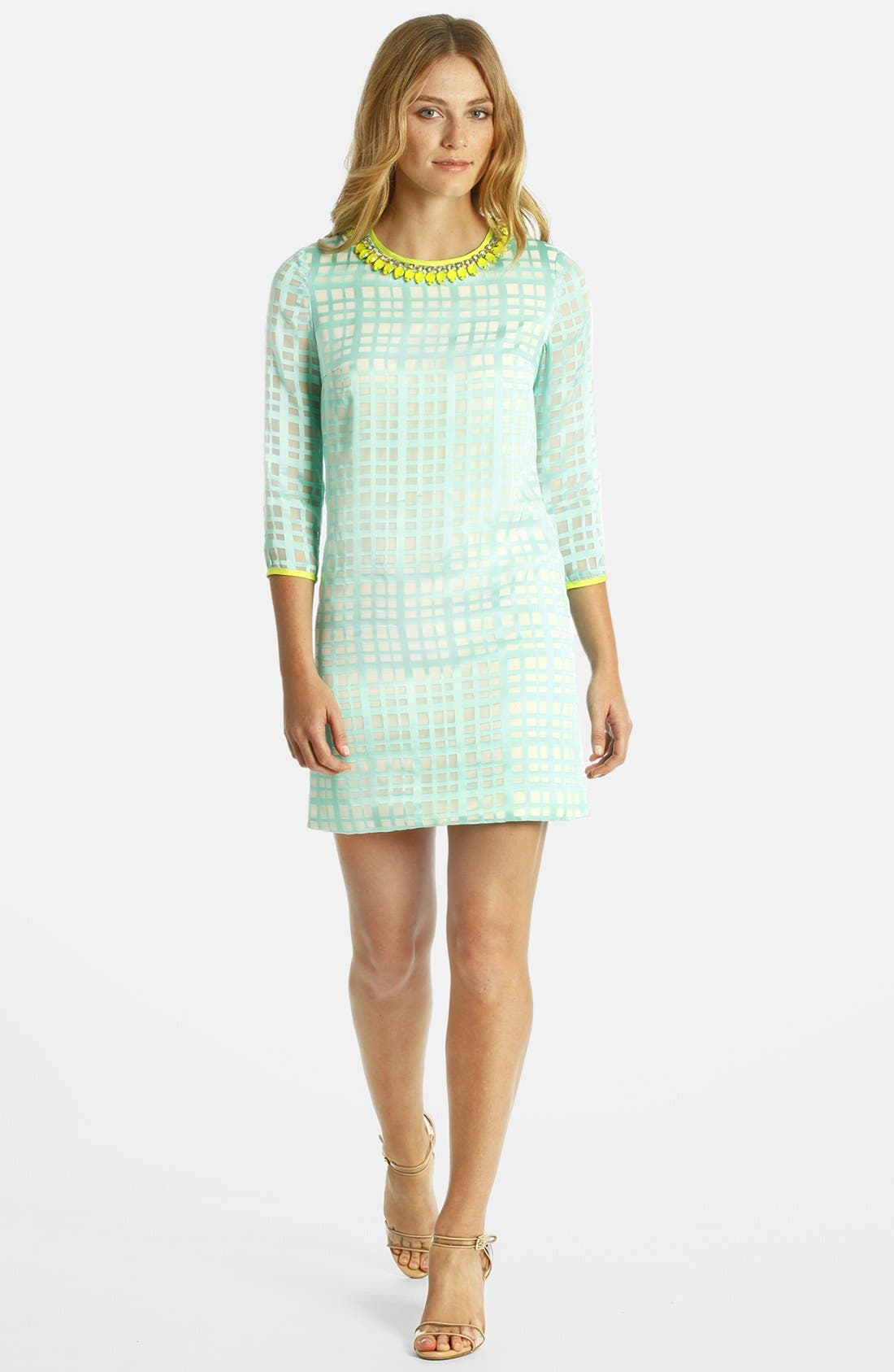 Main Image - LABEL by five twelve Embellished Neck Plaid Crepe Shift Dress