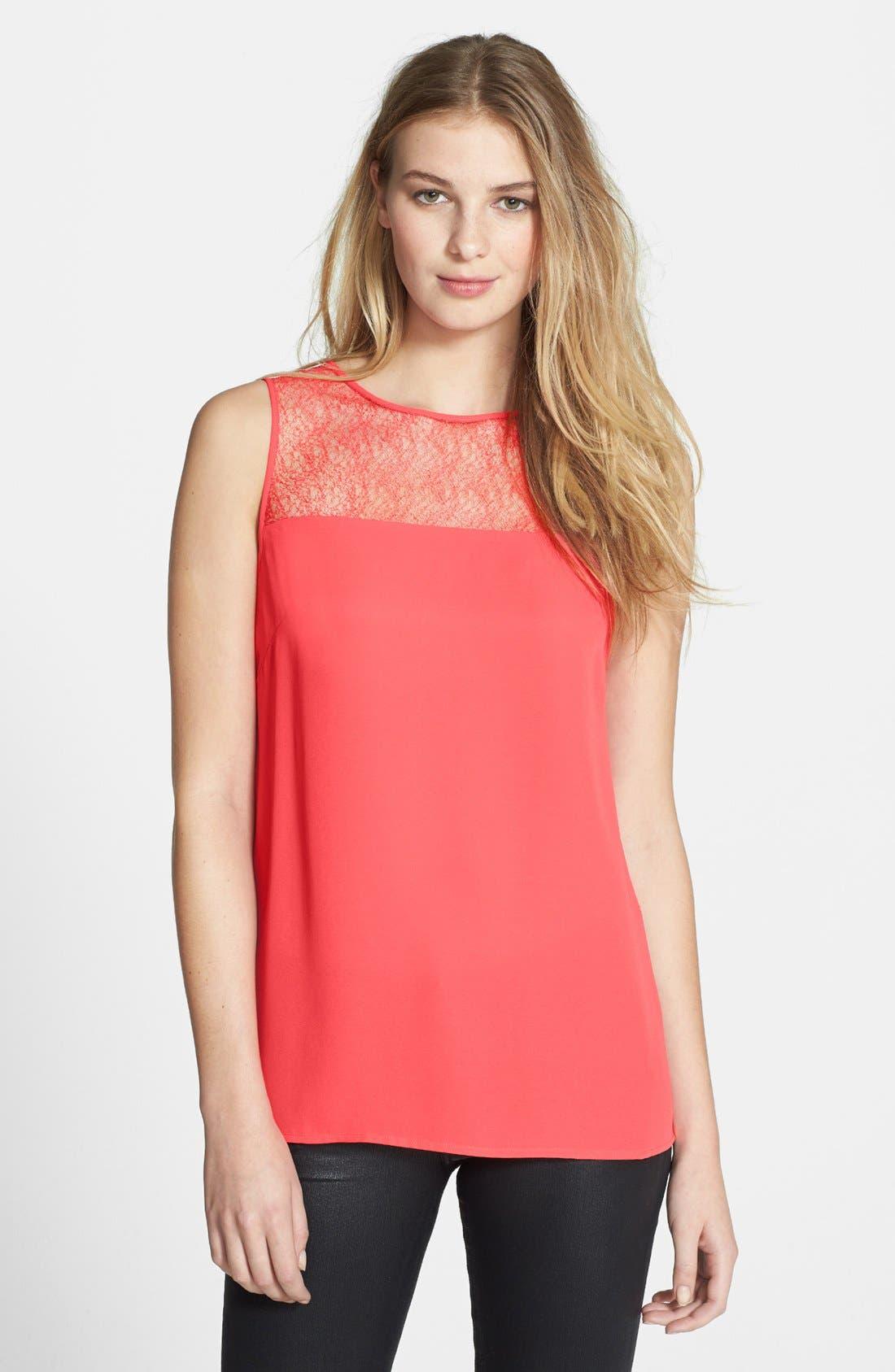 Main Image - Halogen® Lace Yoke Sleeveless Top (Regular & Petite)