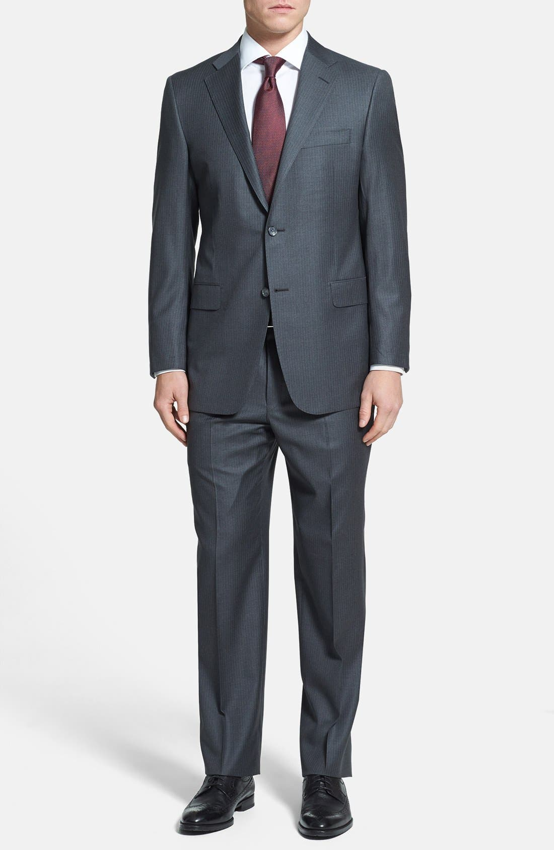 Main Image - Hickey Freeman 'Beacon' Classic Fit Stripe Suit