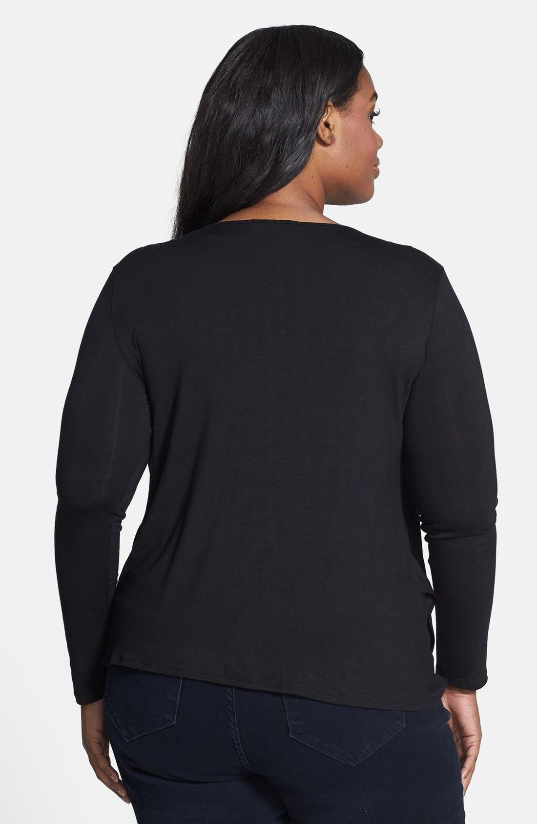 Alternate Image 2  - Loveappella Embellished Jersey Wrap Top (Plus Size)