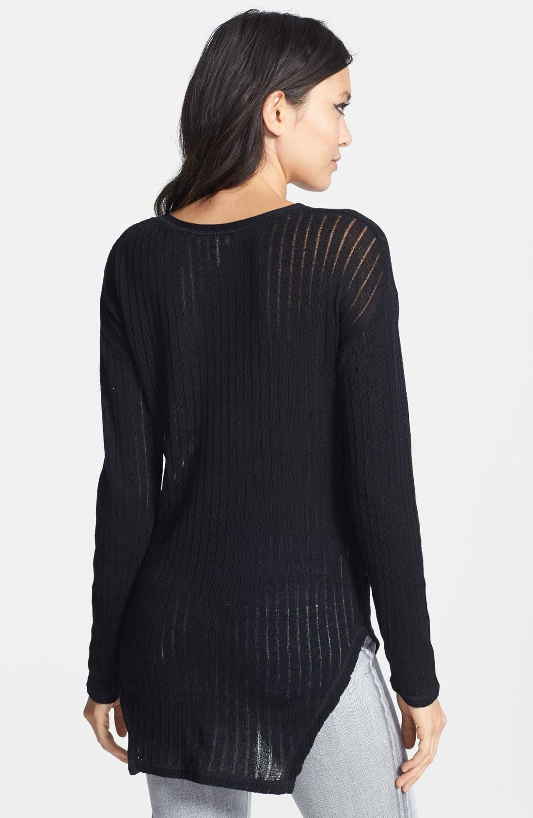 Alternate Image 2  - Leith Sheer Ribbed Cotton Sweater