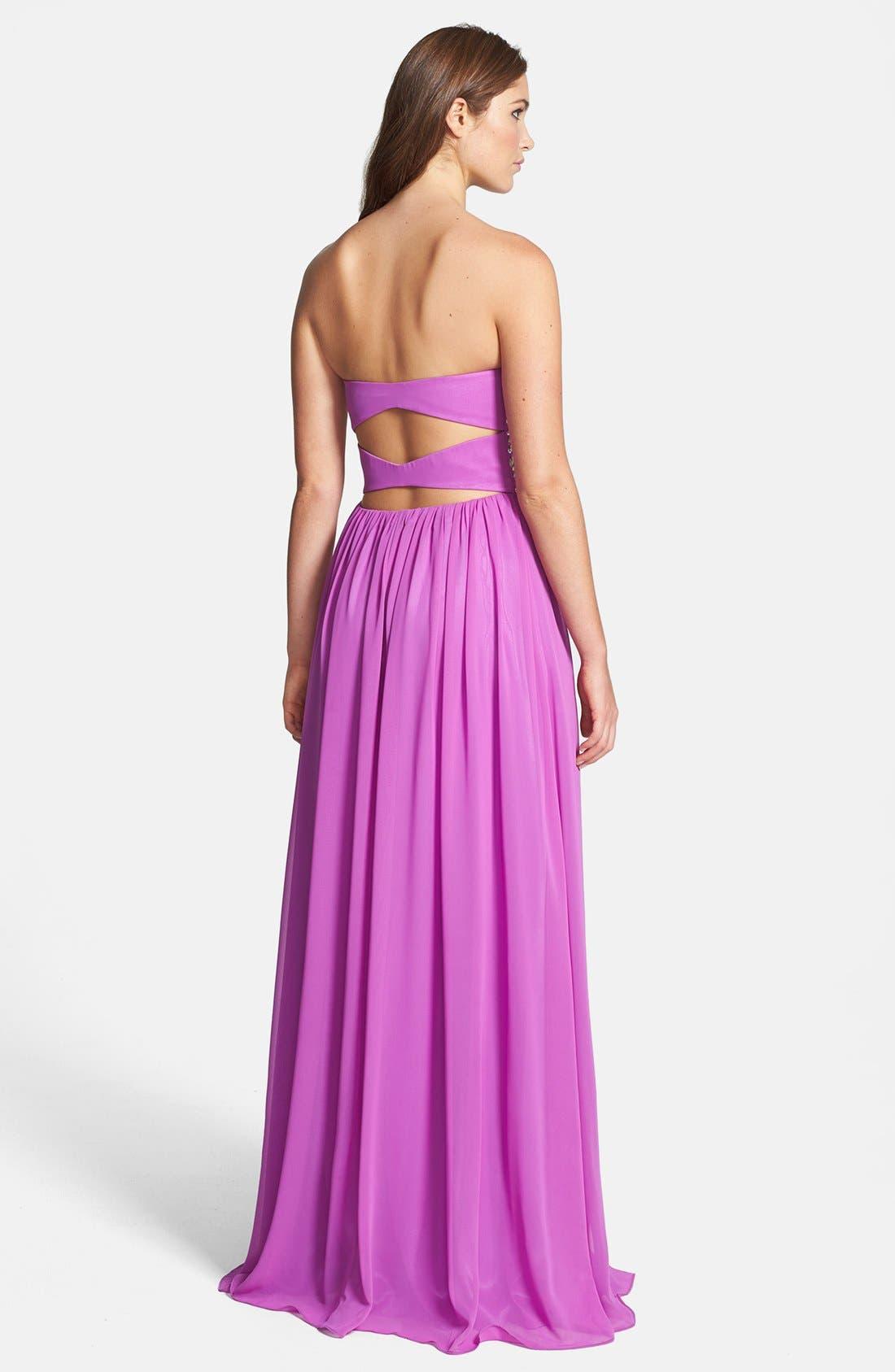 Alternate Image 2  - Xscape Embellished Bodice Strapless Chiffon Gown