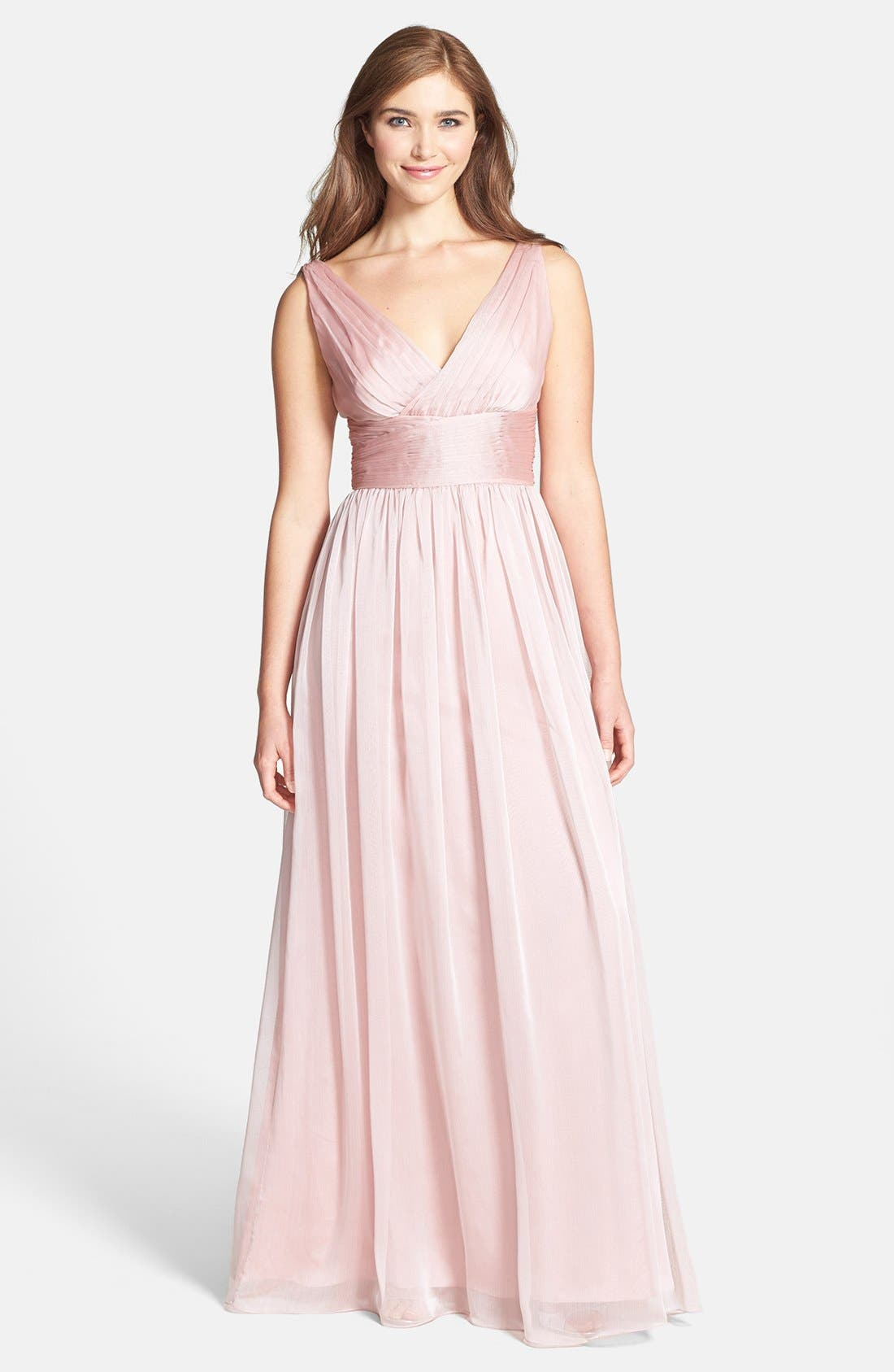 Alternate Image 1  - Monique Lhuillier Bridesmaids Sleeveless Ruched Chiffon Dress (Nordstrom Exclusive)