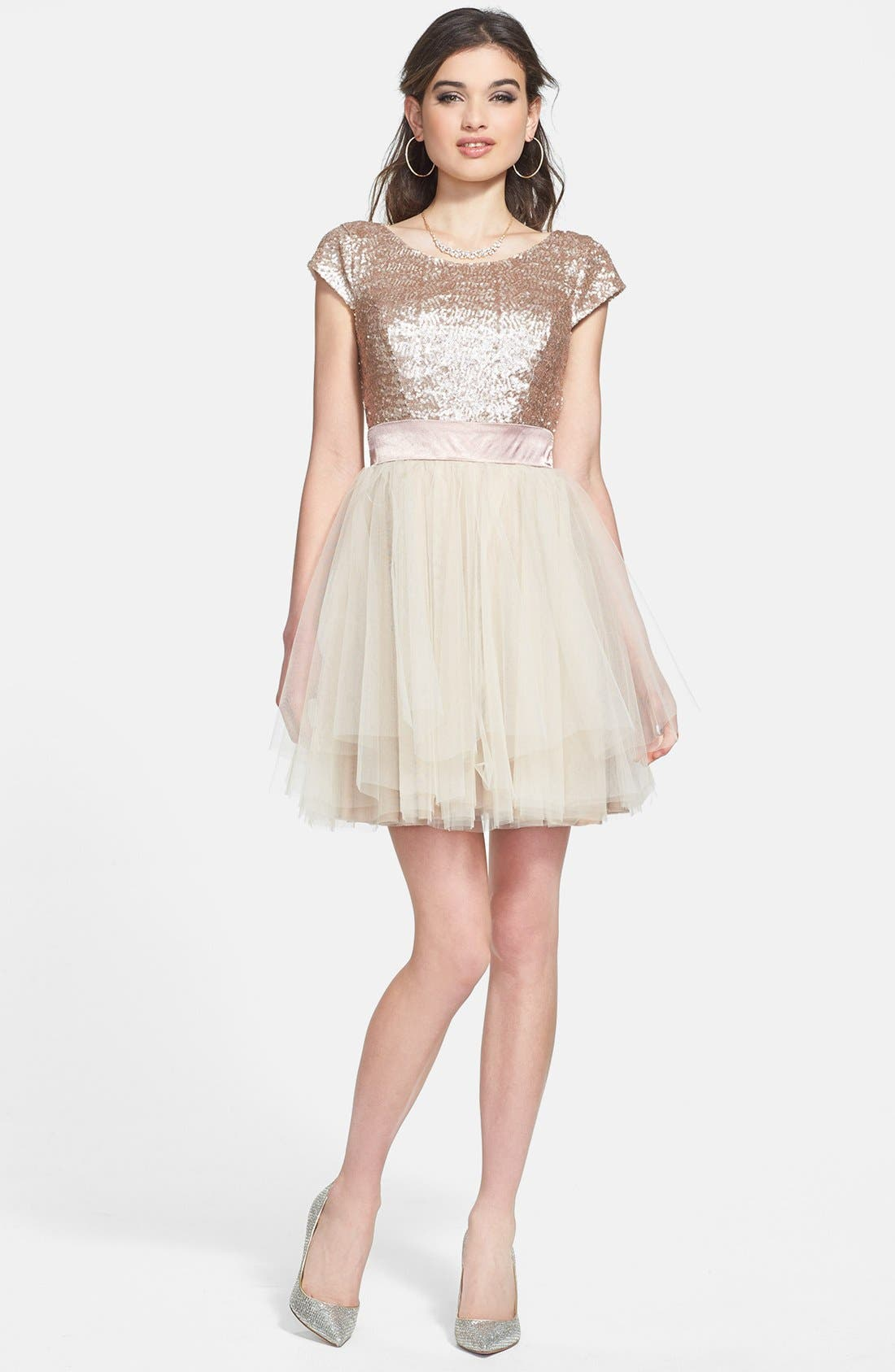 Main Image - Trixxi Sequin & Tulle Party Dress (Juniors)