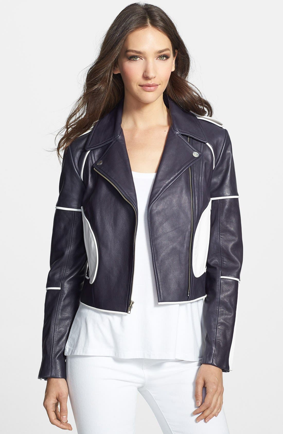 Alternate Image 1 Selected - Diane von Furstenberg 'Kenzie' Leather Moto Jacket
