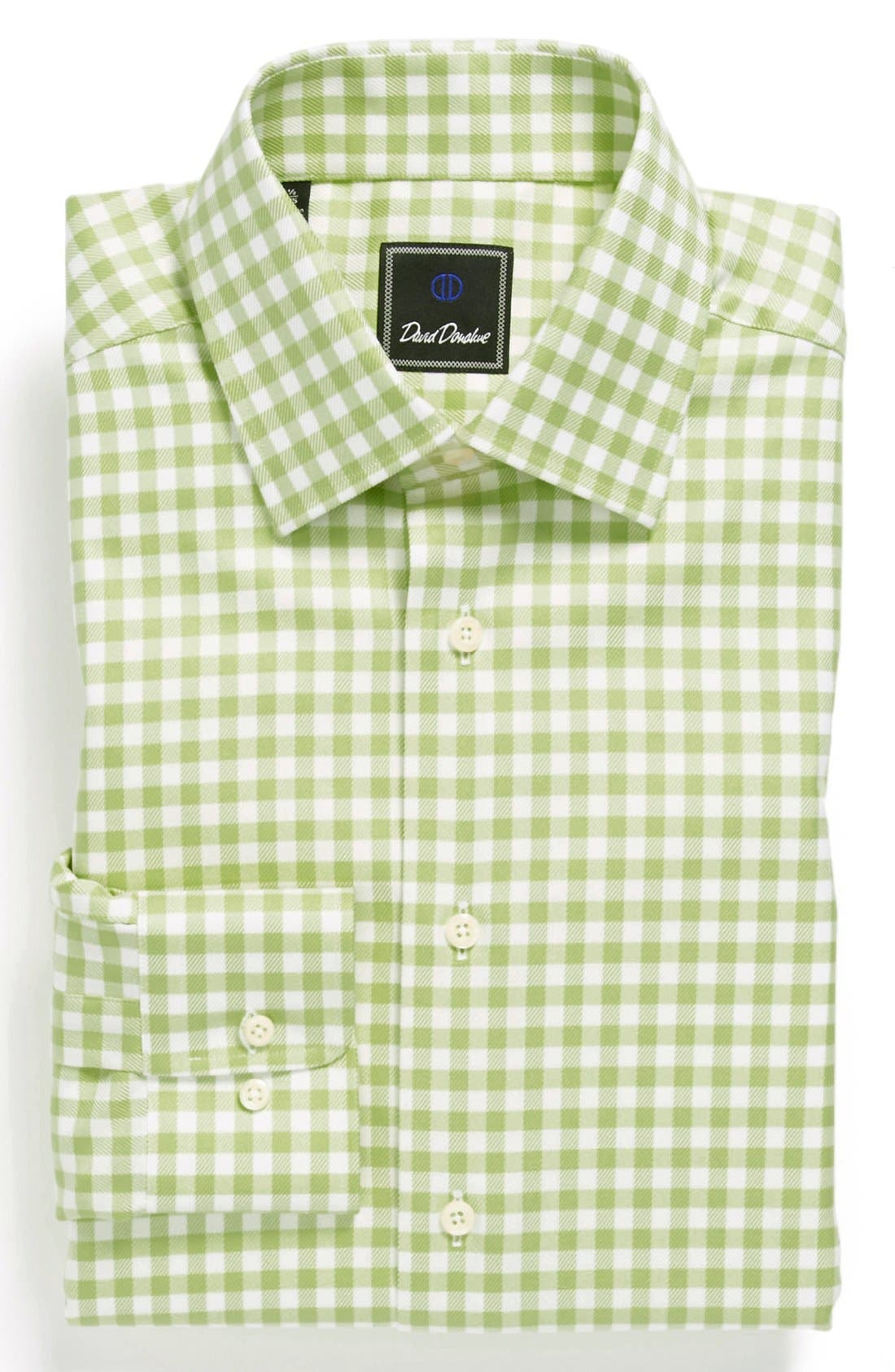 Main Image - David Donahue Twill Gingham Regular Fit Dress Shirt