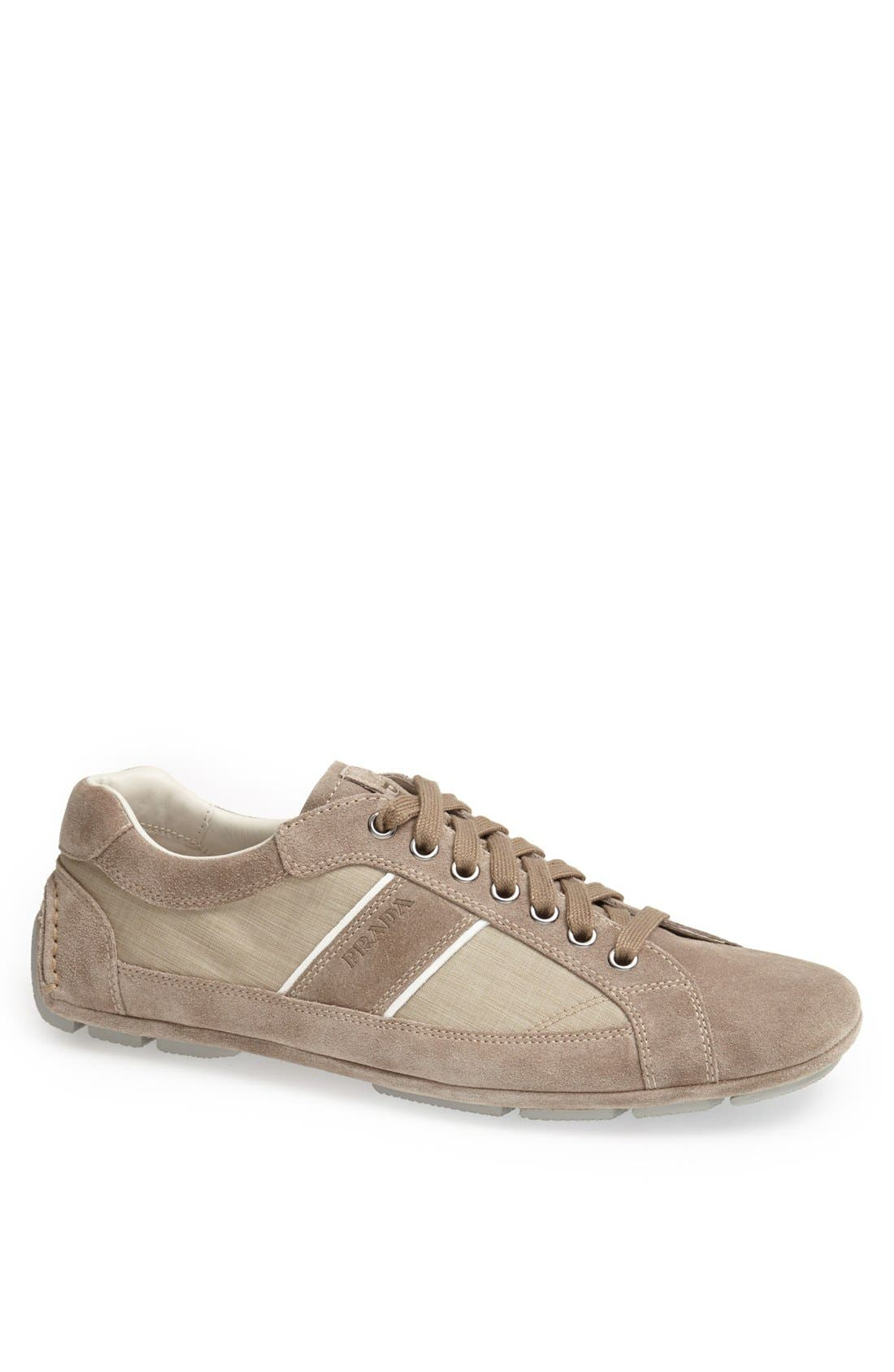 Main Image - Prada Low Profile Suede and Nylon Sneaker