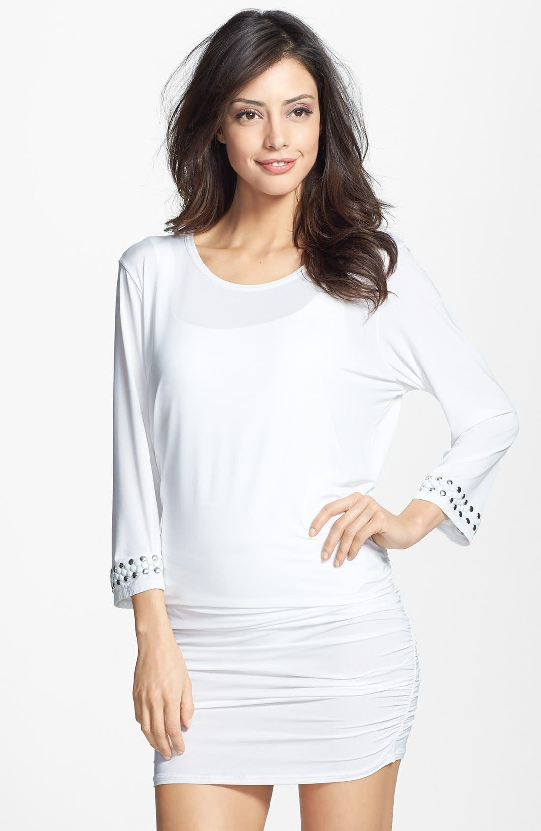 Alternate Image 1 Selected - MICHAEL Michael Kors Studded Shirred Cover-Up
