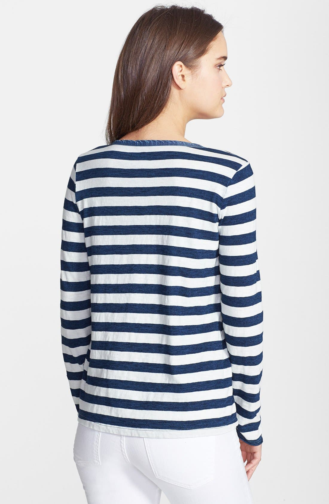 Alternate Image 2  - Splendid Stripe Snap Button Cotton Henley Tee