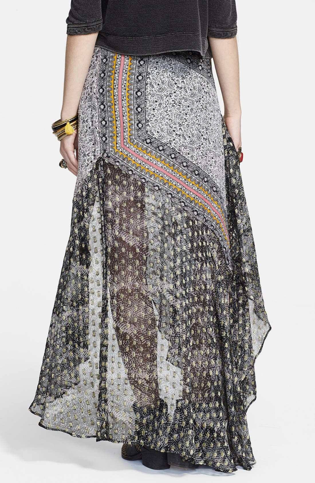 Alternate Image 2  - Free People Asymmetrical Mixed Print Ruffle Skirt