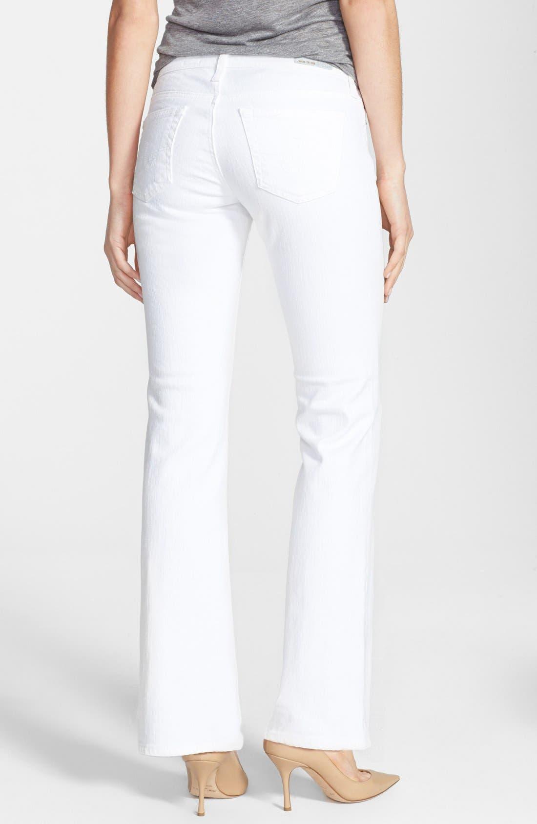 Alternate Image 2  - AG 'Angelina' Bootcut Jeans (Petite) (White)