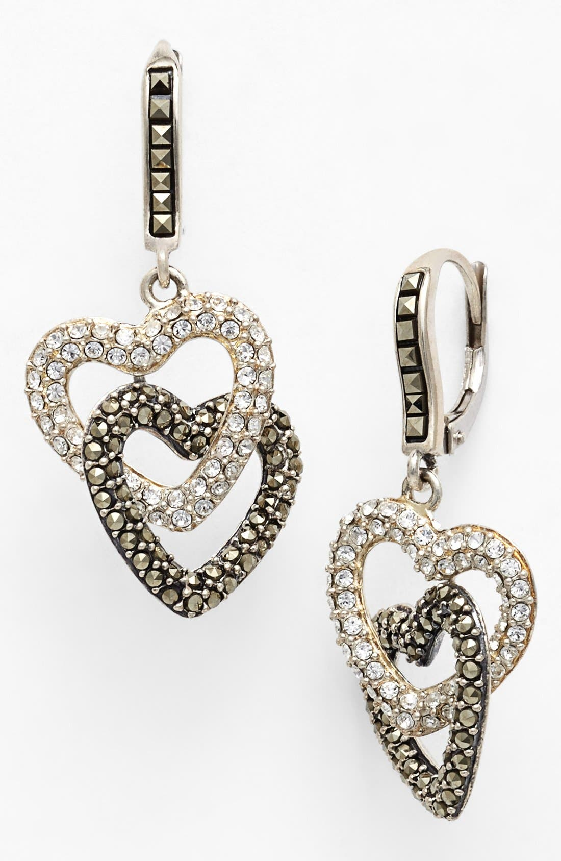 Main Image - Judith Jack Pavé Heart Drop Earrings