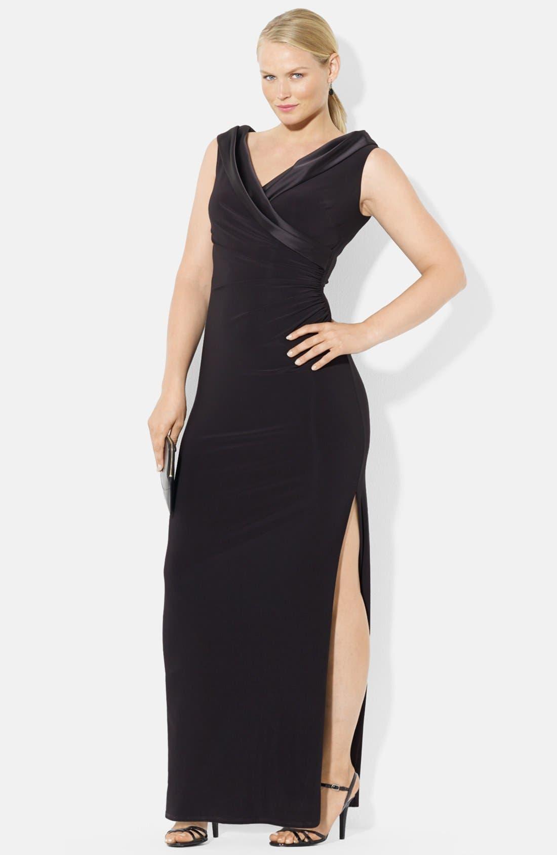Main Image - Lauren Ralph Lauren Portrait Collar Jersey Gown (Plus Size)