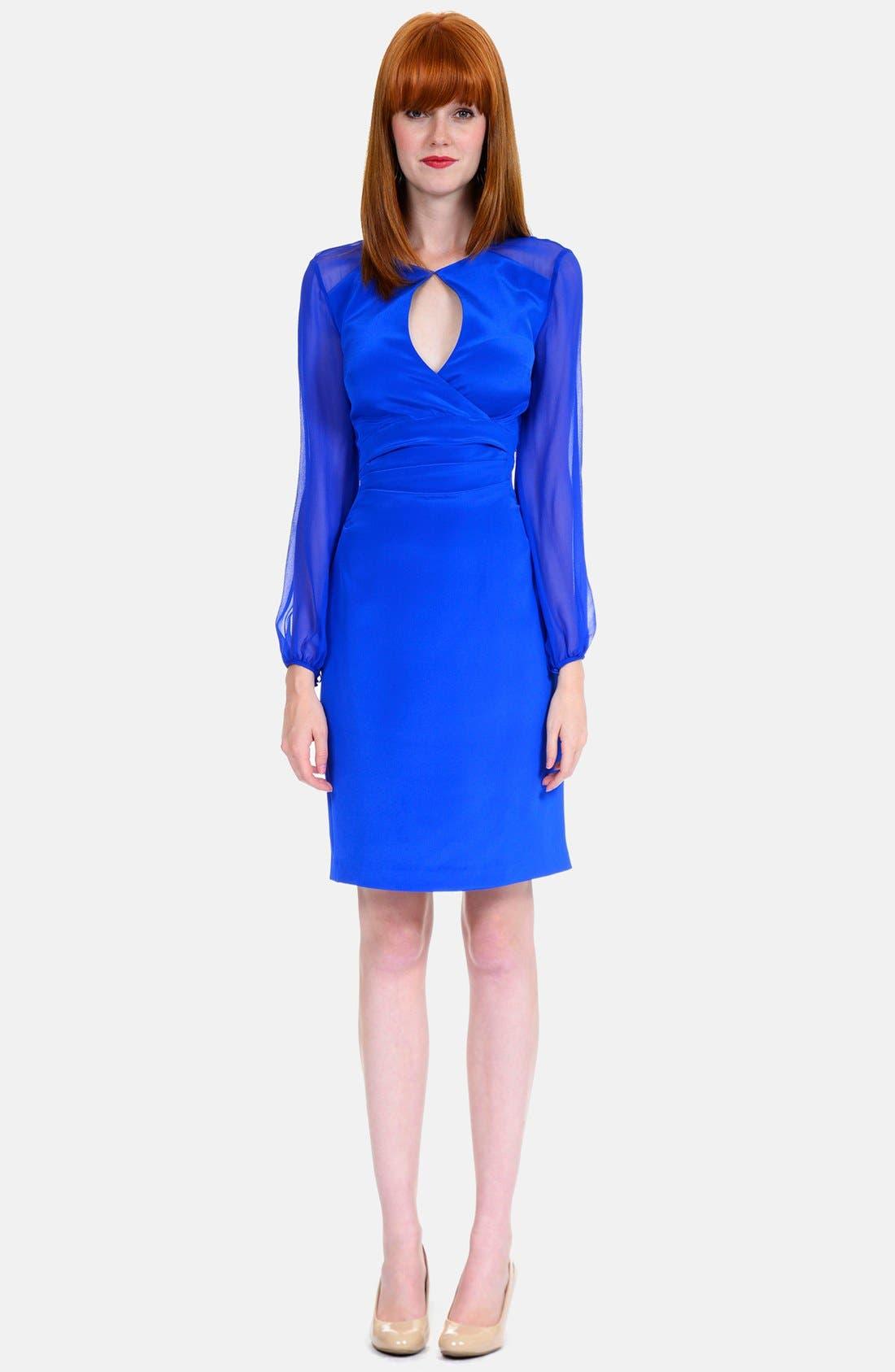 Main Image - Kay Unger Illusion Sleeve Stretch Silk Dress