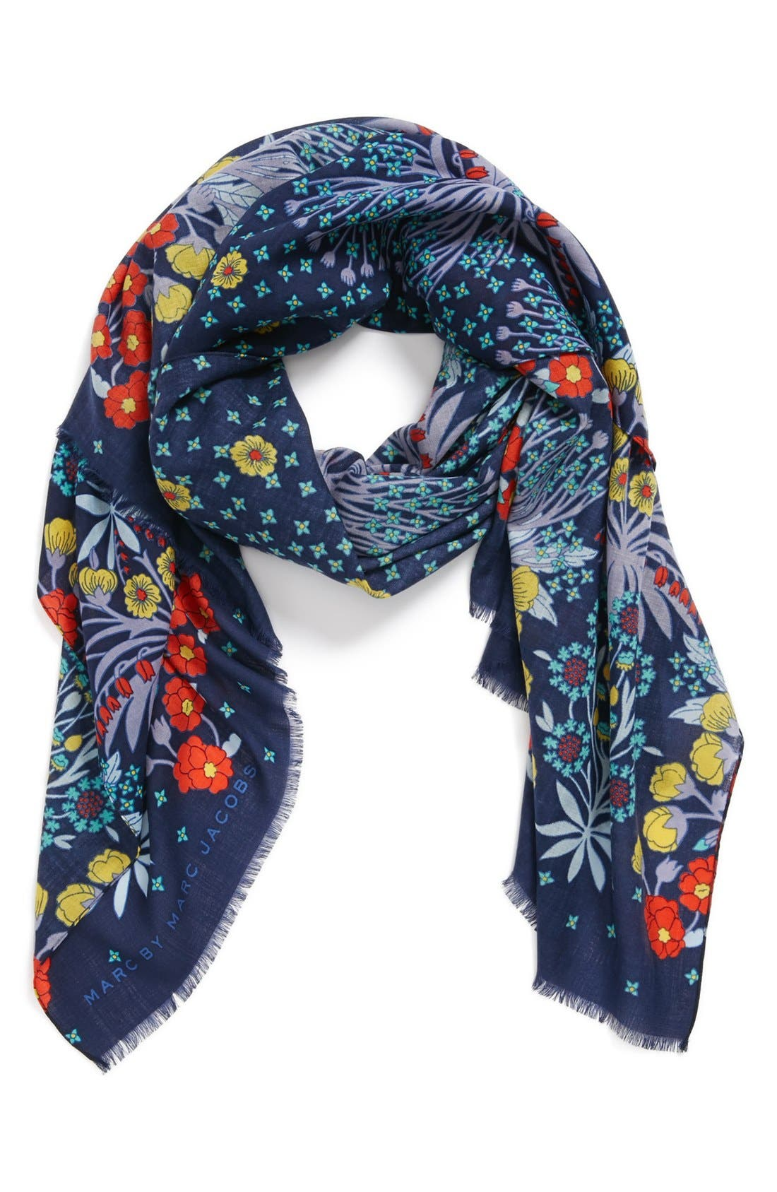 Main Image - MARC BY MARC JACOBS 'Madeline' Botanical Mercerized Wool Scarf