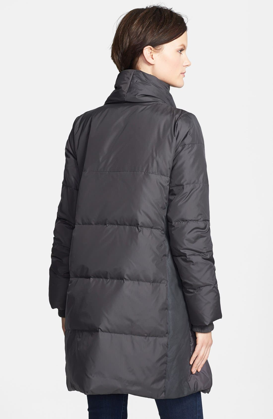 Alternate Image 2  - Vince Leather Trim Asymmetrical Zip Puffer Jacket