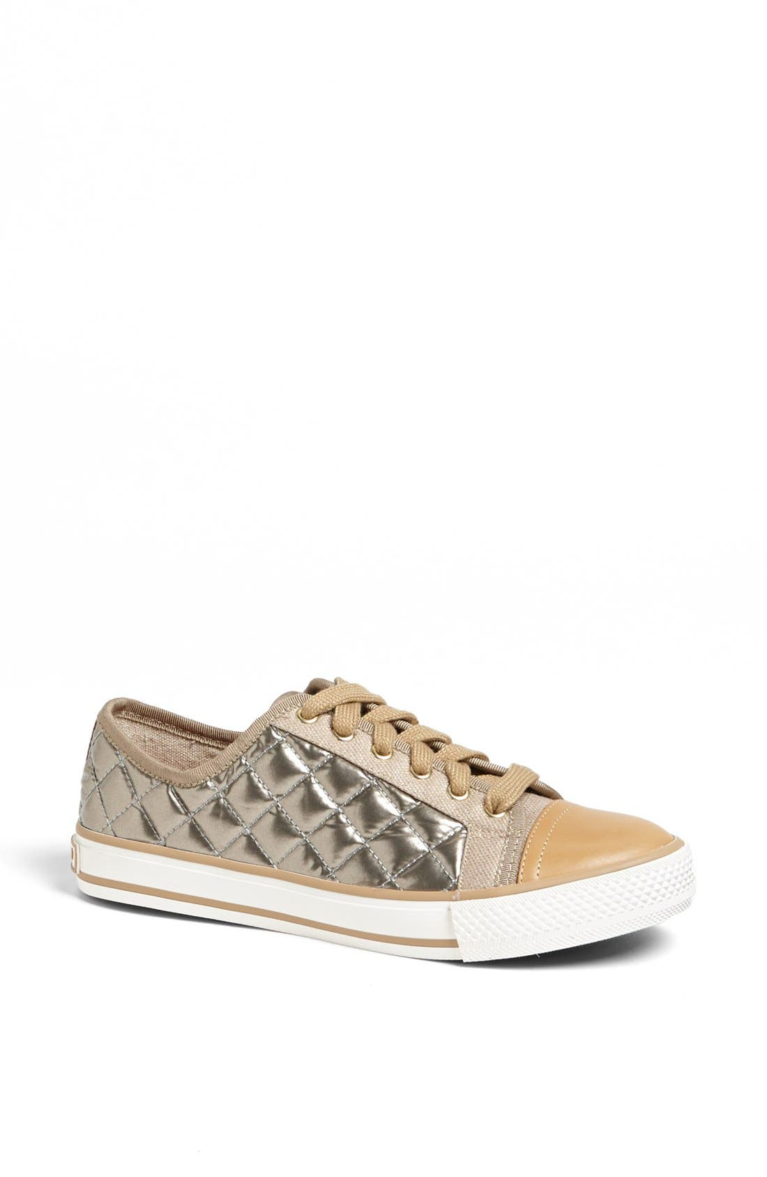 Main Image - Tory Burch 'Caspe' Quilted Metallic Leather Sneaker