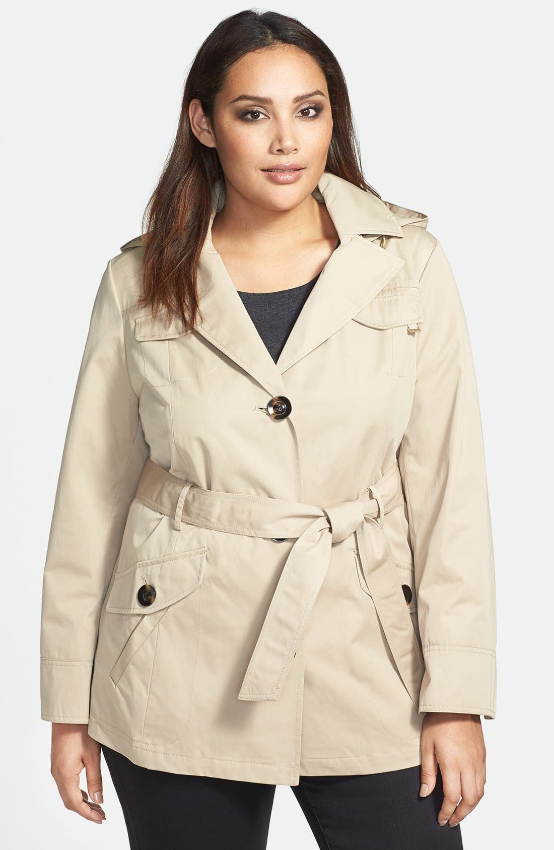 Main Image - Ellen Tracy Belted Short Trench Coat (Plus Size) (Nordstrom Exclusive)
