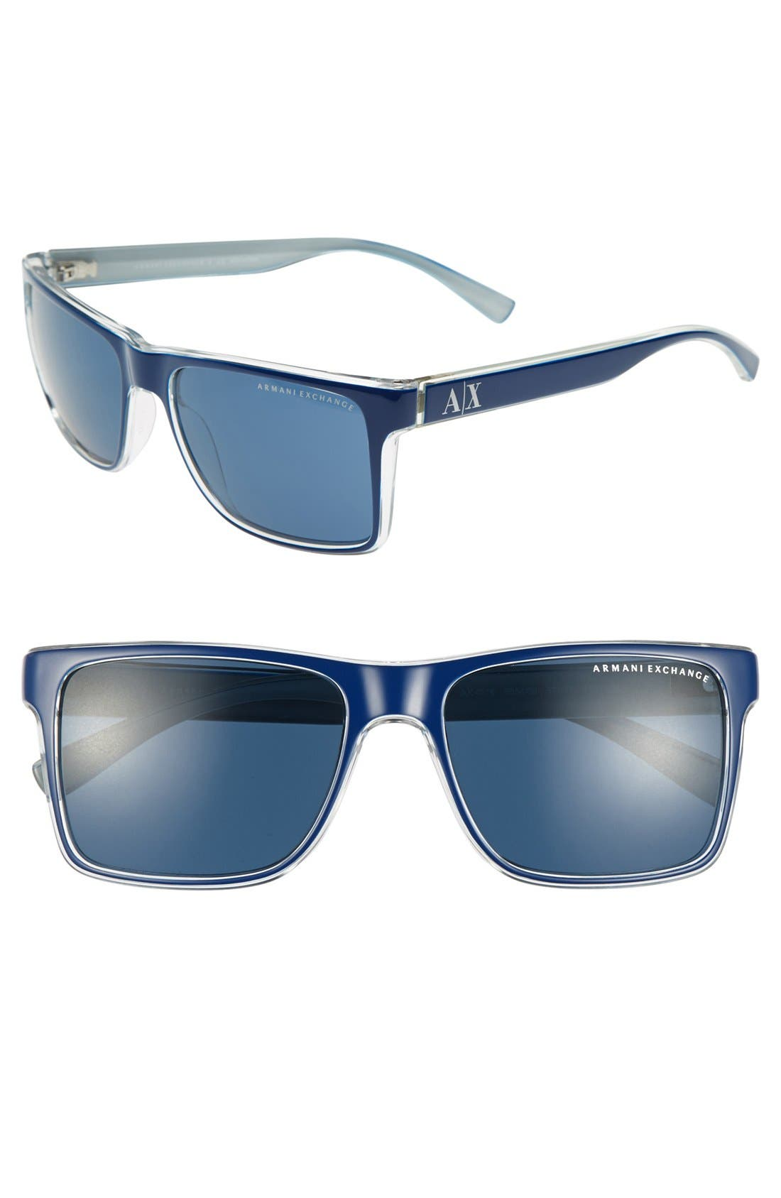 Main Image - AX Armani Exchange 'Forever Young' Square Logo 57mm Sunglasses