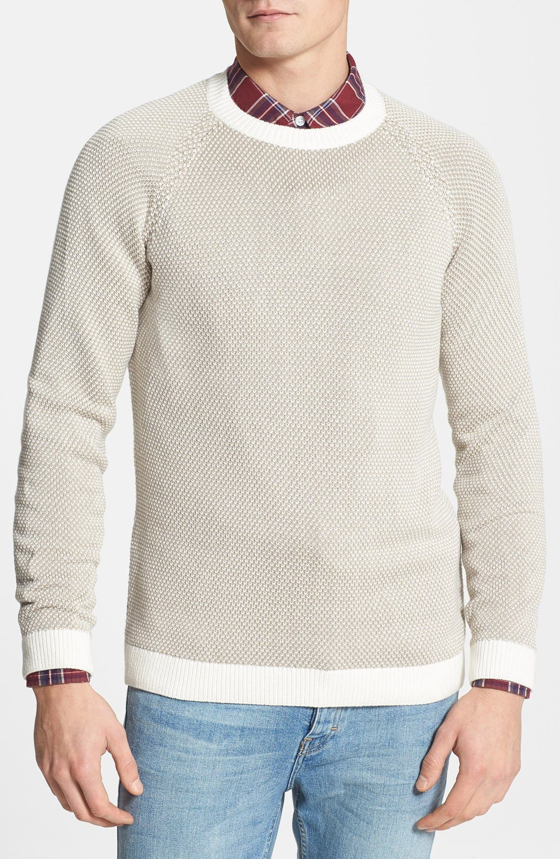 Main Image - Topman Reverse Knit Crewneck Sweater