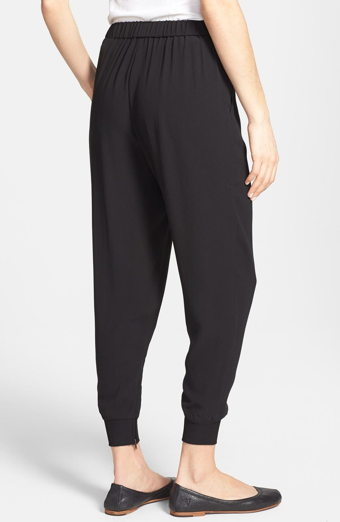 Alternate Image 2  - Eileen Fisher Cuffed Silk Ankle Pants (Regular & Petite)(Online Only)