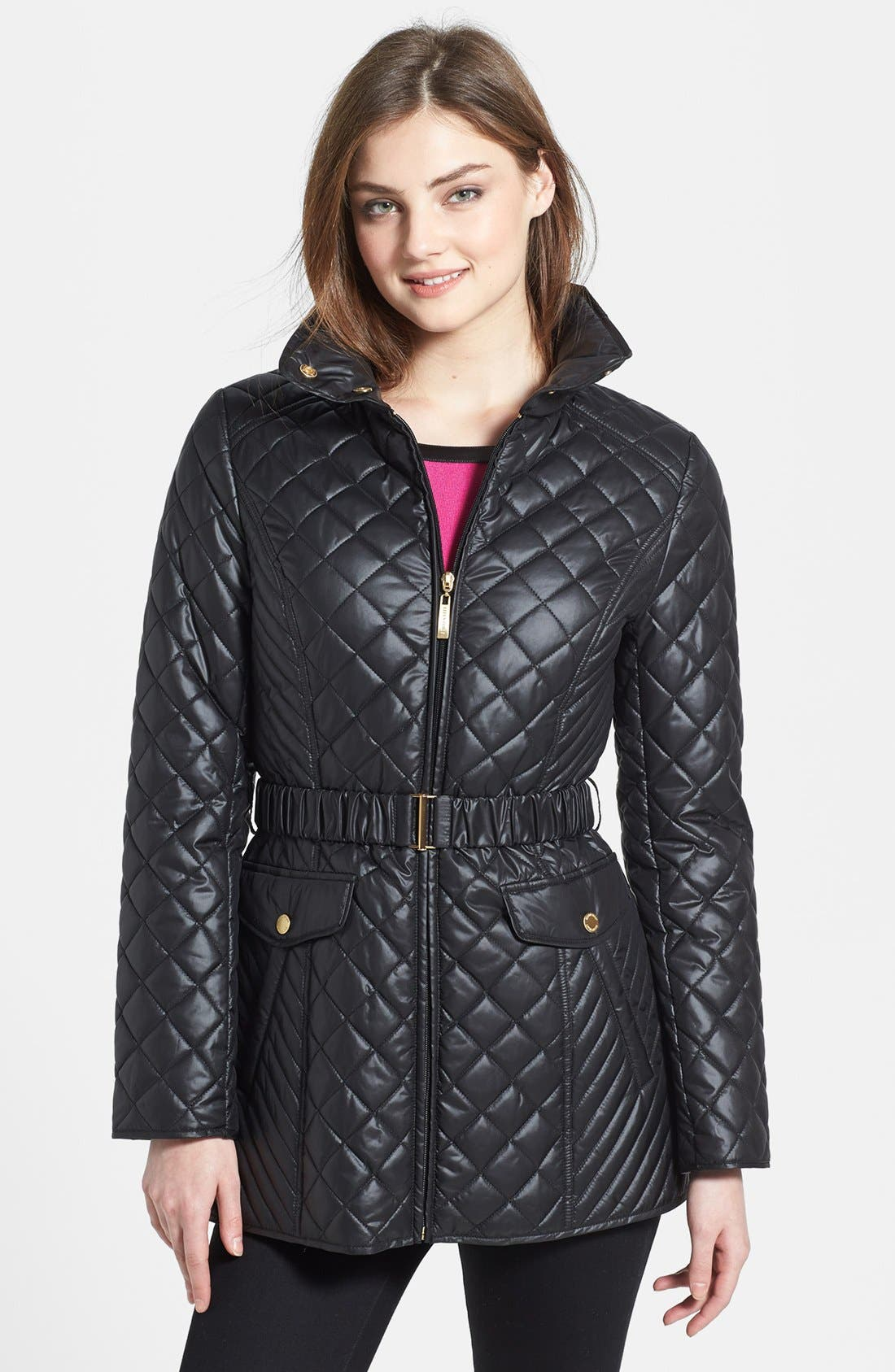 Main Image - Ellen Tracy Belted Quilted Jacket (Online Only)