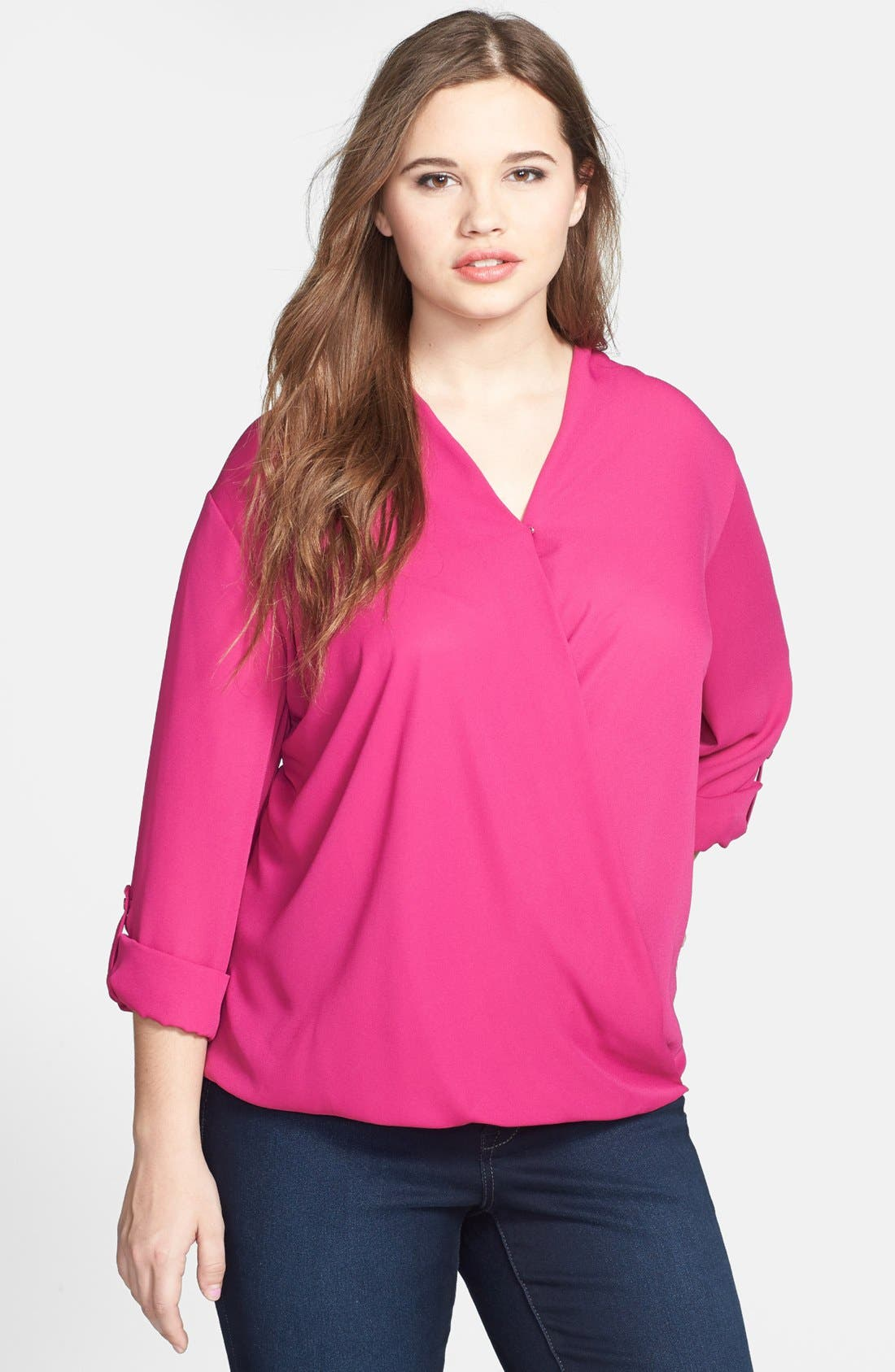 Alternate Image 1 Selected - Pleione Surplice Neckline Top (Plus Size)