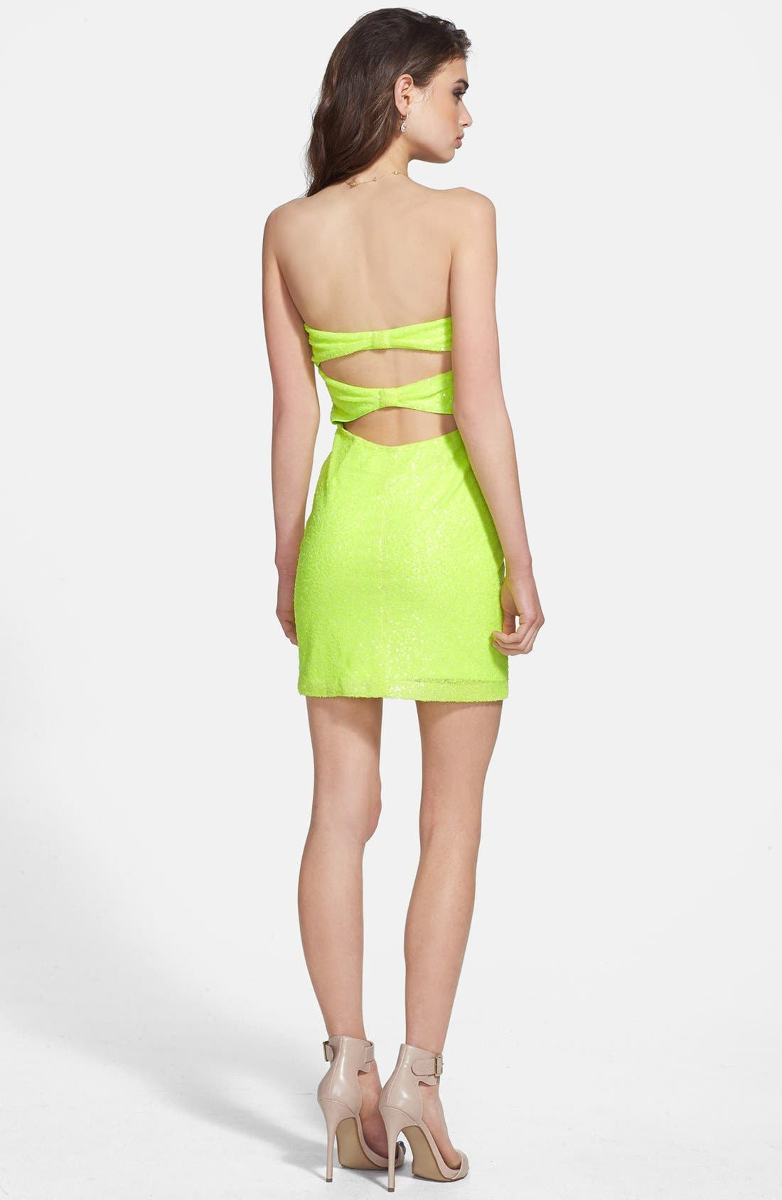 Alternate Image 2  - Hailey Logan Back Cutout Sequin Body-Con Dress (Juniors)