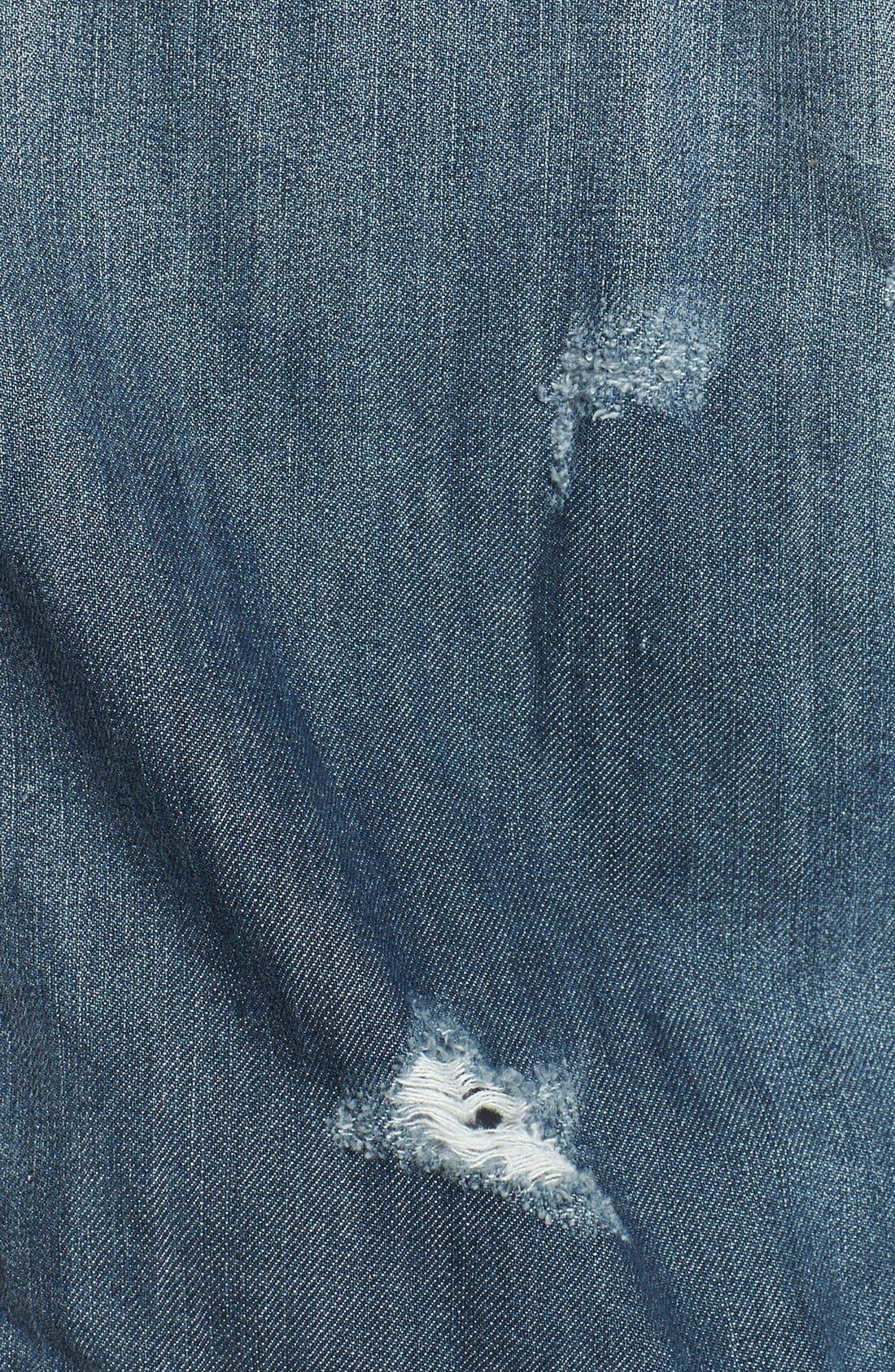 Alternate Image 3  - BCBGMAXAZRIA 'Nikki' Faux Leather Sleeve Denim Jacket