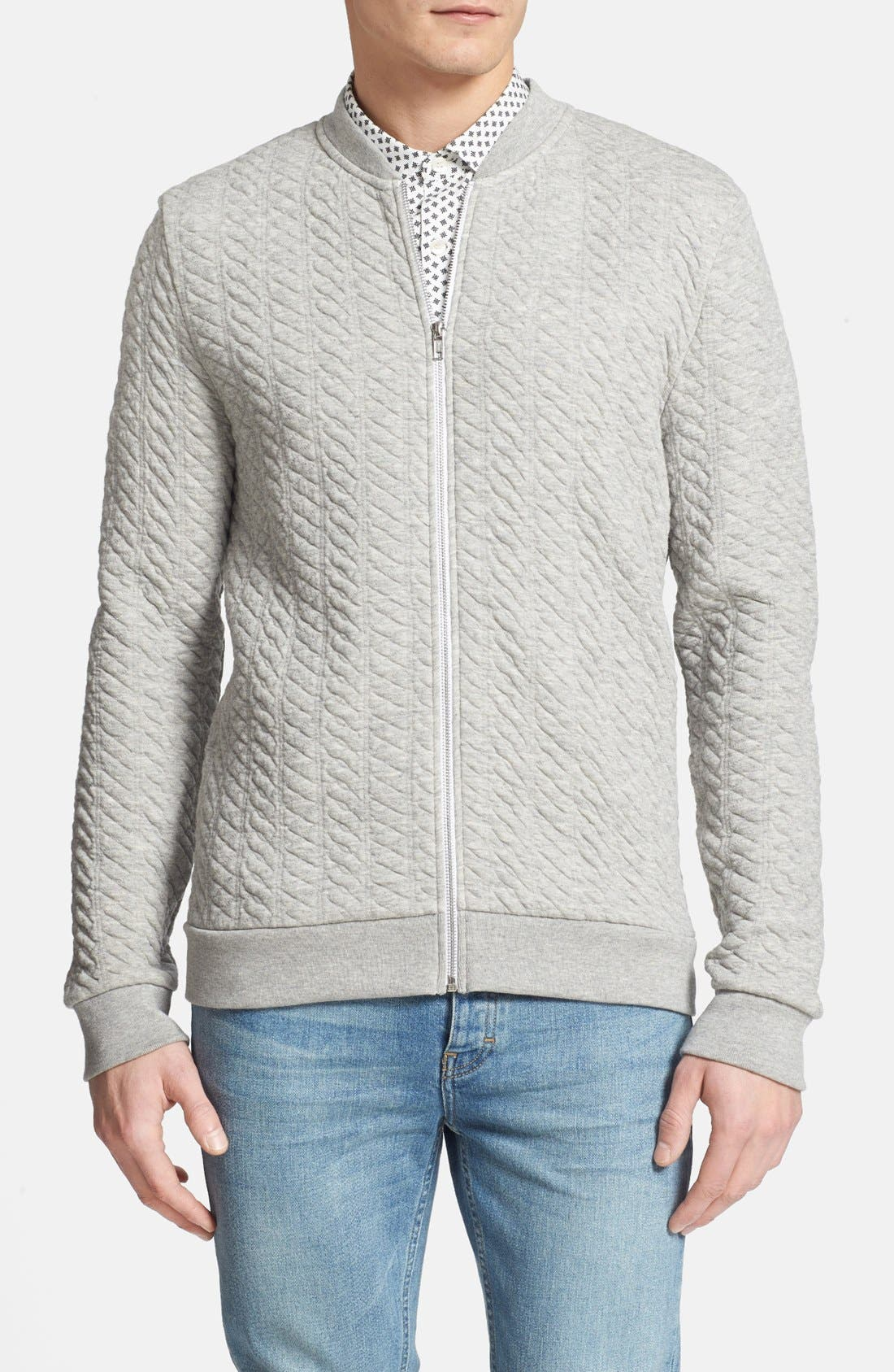 Alternate Image 1 Selected - Topman Mini Cable Jersey Zip Sweatshirt