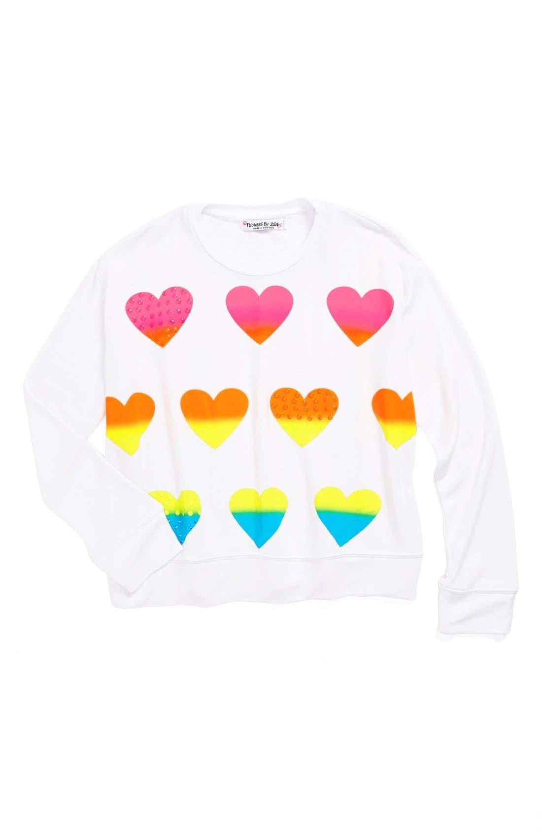 Alternate Image 1 Selected - Flowers by Zoe 'Heart' Sweatshirt (Little Girls)