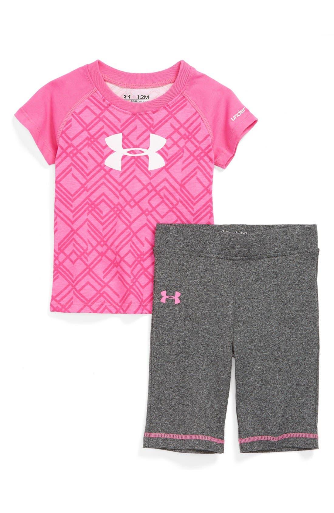 Alternate Image 1 Selected - Under Armour HeatGear® Tee & Pants (Baby Girls)