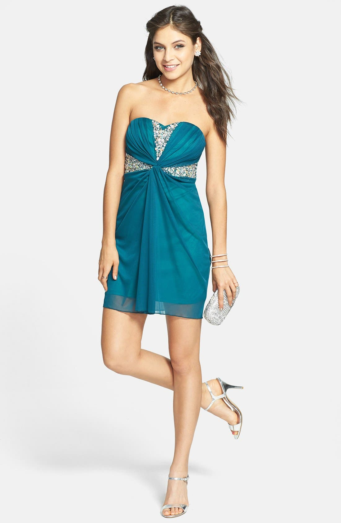 Main Image - Secret Charm Embellished Twist Front Tube Dress (Juniors)