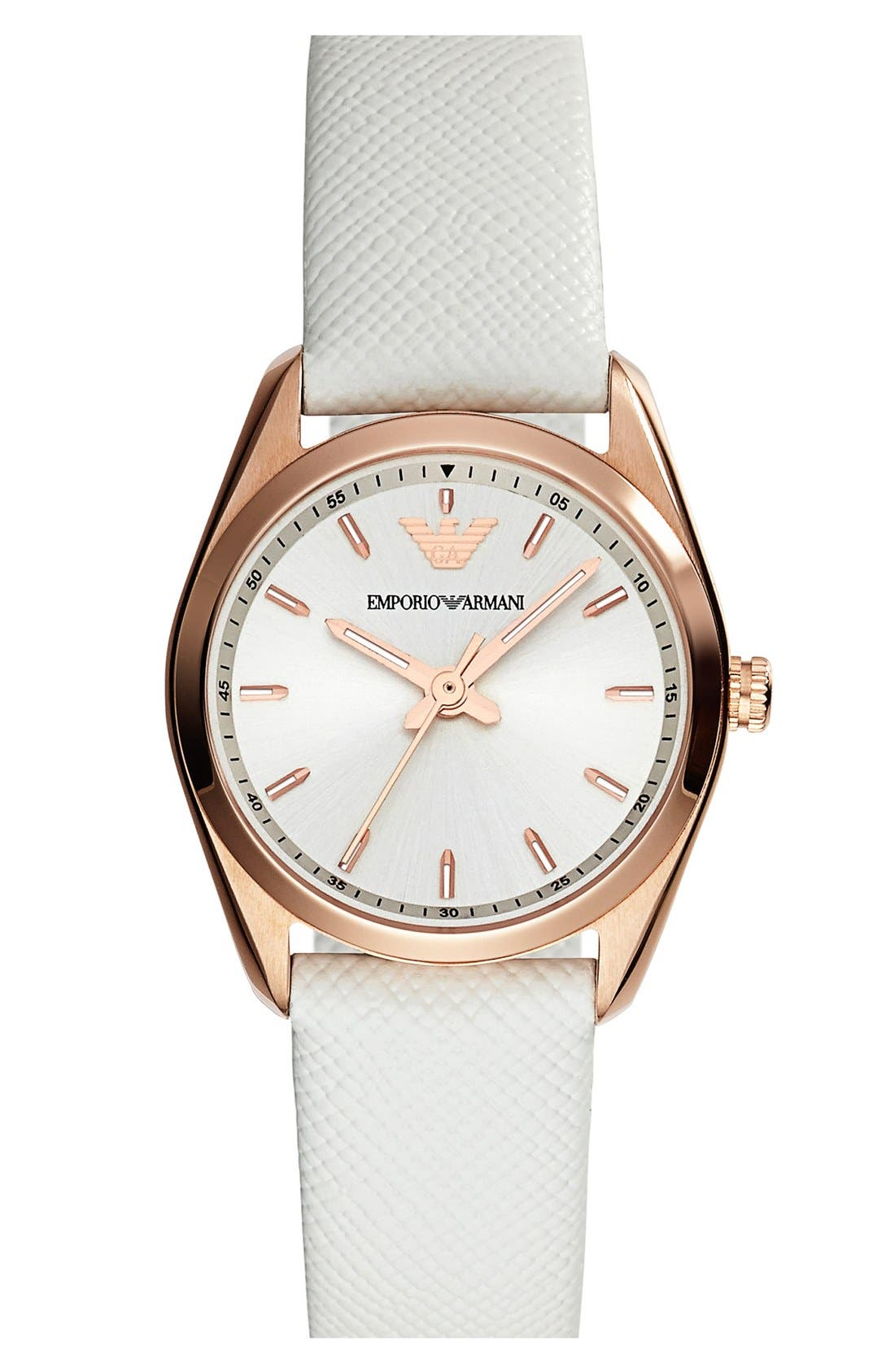Alternate Image 1 Selected - Emporio Armani Round Saffiano Leather Strap Watch, 26mm